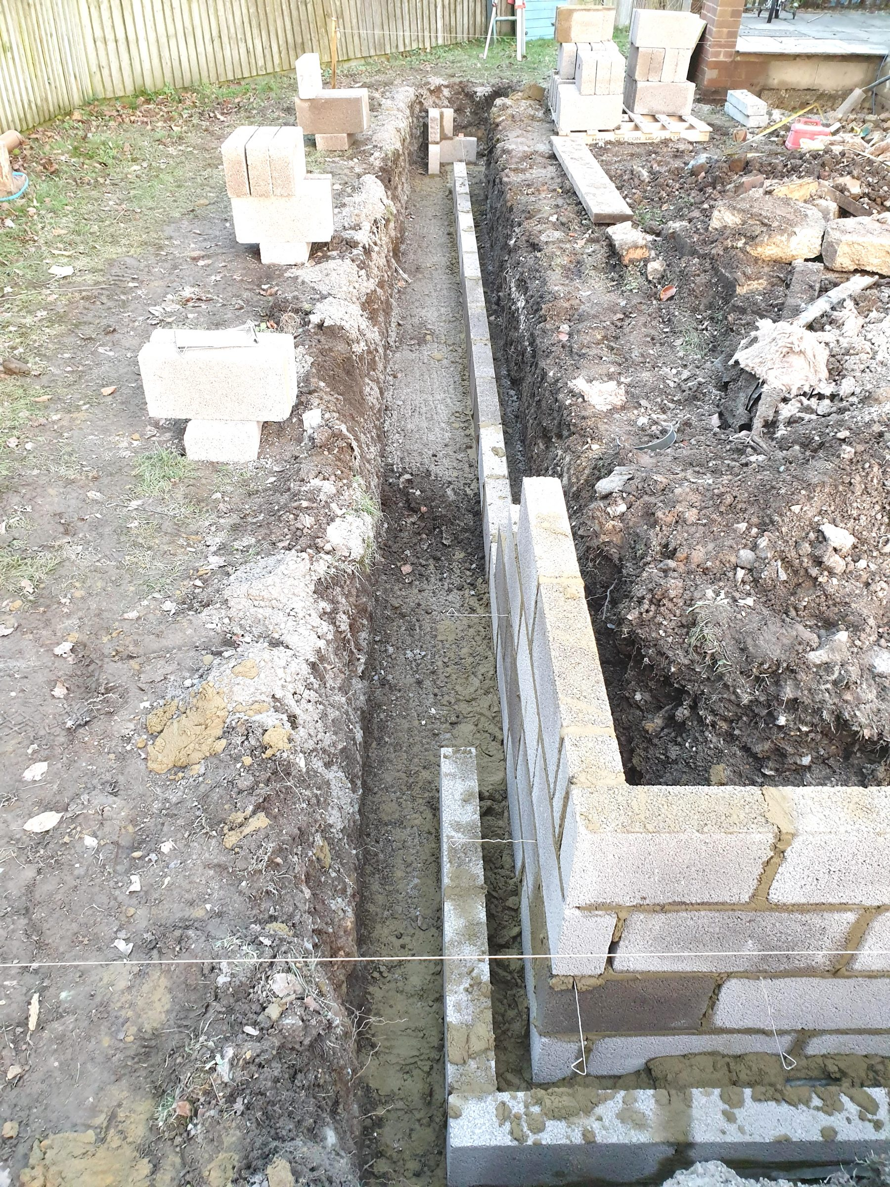 Footings for two story extension in Marlborough, Wiltshire